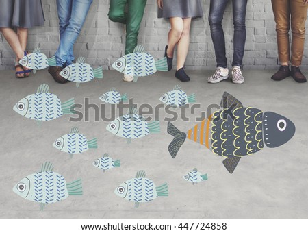 Individuality Unique Different Fish Graphic Concept - stock photo
