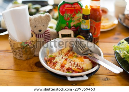 Indochina pan-fried egg with toppings