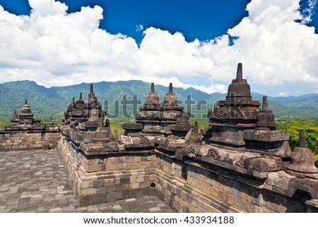 Indonesia - Borobudur UNESCO temple - stock photo