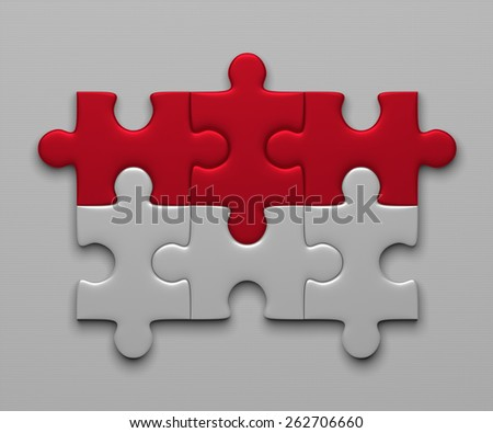 Indonesia flag assembled of puzzle pieces on gray background - stock photo