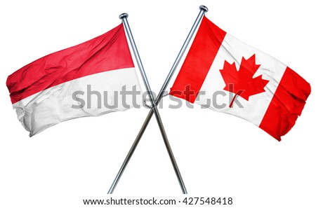 Indonesia flag  combined with canada flag