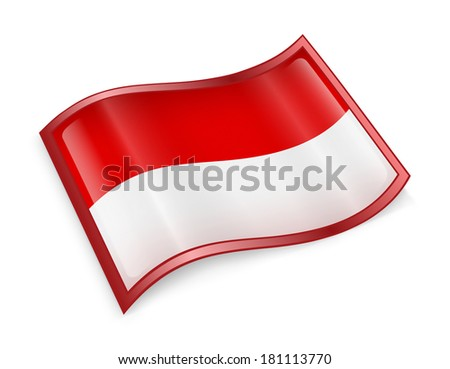 Indonesia Flag Icon, isolated on white background. - stock photo