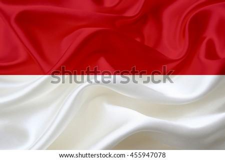 Indonesia flag of silk - stock photo