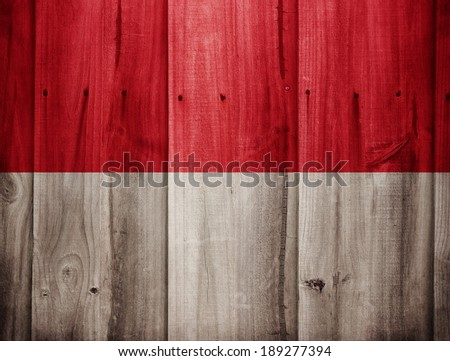 Indonesia flag painted on wooden fence