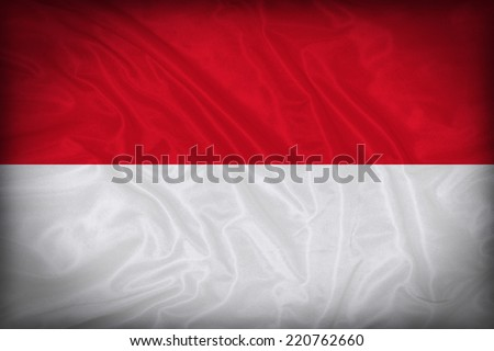 Indonesia flag pattern on the fabric texture ,vintage style - stock photo