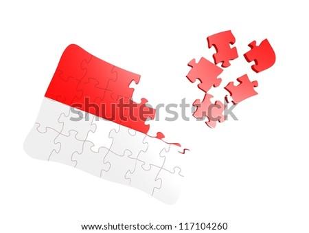 Indonesia flag puzzle - stock photo
