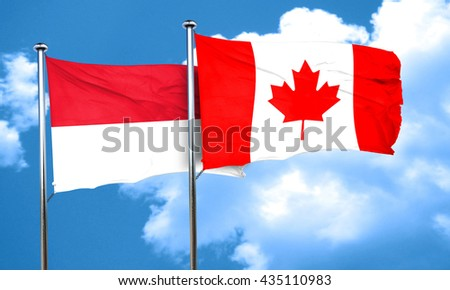 Indonesia flag with Canada flag, 3D rendering