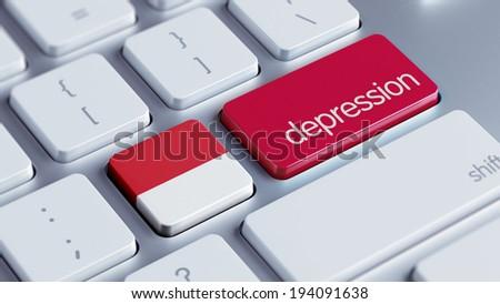 Indonesia High Resolution Depression Concept - stock photo