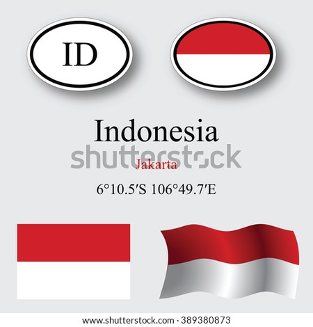 indonesia icons set against gray background, abstract art illustration, image contains transparency