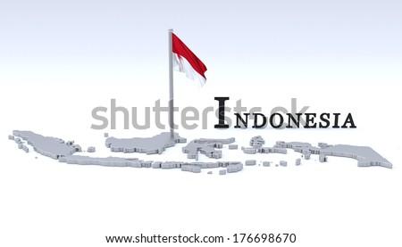 Indonesia map - stock photo