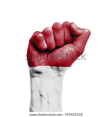 Indonesia national flag painted onto a male clenched fist. Strength, Power, Protest concept
