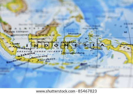 Indonesia on the map. - stock photo