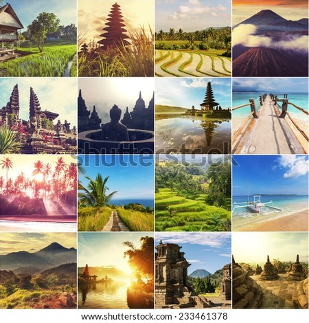Indonesia theme collage - stock photo