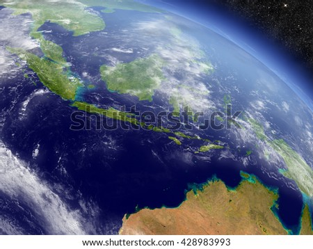 Indonesia with surrounding region as seen from Earth's orbit in space. 3D illustration with highly detailed planet surface and clouds in the atmosphere. Elements of this image furnished by NASA.