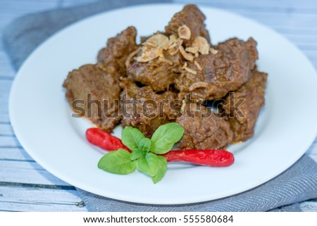 Indonesian Food Beef Rendang