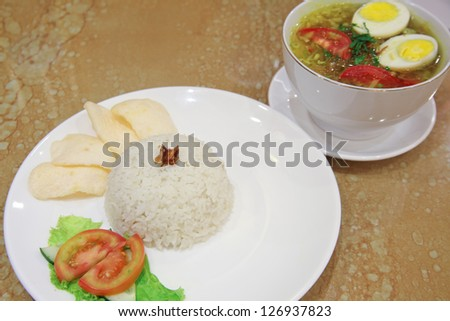 indonesian food named soto ayam