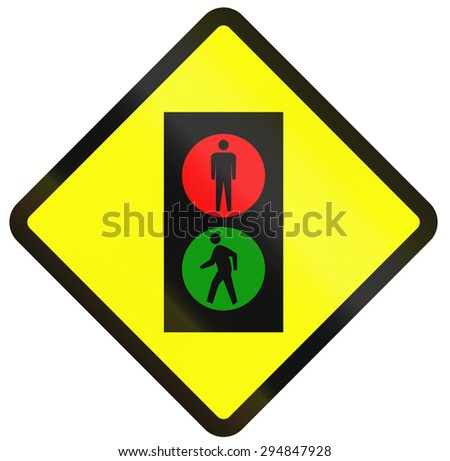 Indonesian road warning sign: pedestrian traffic signals - stock photo