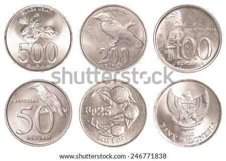 indonesian rupiah coins collection set isolated on white background - stock photo