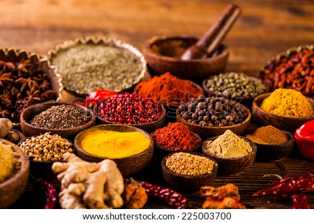 Indonesian seasoning with oriental wooden bowls - stock photo