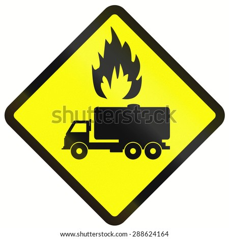 Indonesian warning road sign - tank trucks with flammable goods