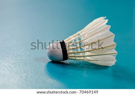 Indoor Badminton Shuttlecock Racquet Ball Game Close up - stock photo