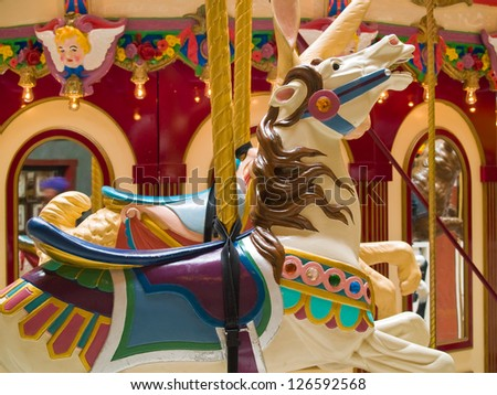 Indoor Carousel at the Seaside Mall in Oregon - stock photo