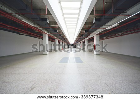 indoor carpark - stock photo
