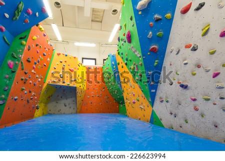 Indoor climbing training - stock photo