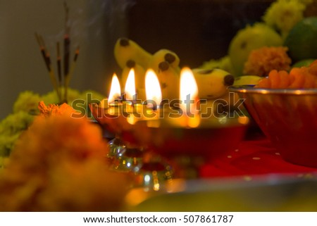 Puja thali stock images royalty free images vectors for Indoor diwali decoration