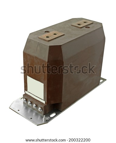 Indoor High Voltage Current Transformer isolated on white background - stock photo