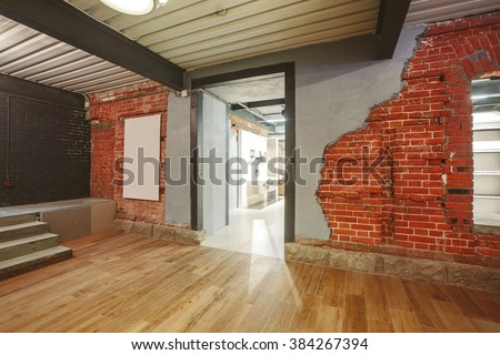 Indoor Interior: loft shop with old brick wall - stock photo