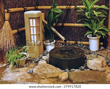 Indoor Japanese Small Pond And Zen Garden In Vintage Style
