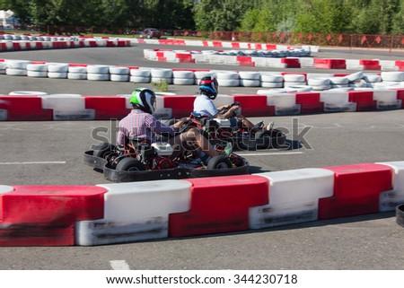 Indoor karting race  - stock photo
