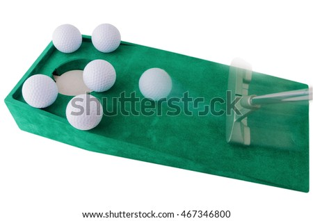 indoor mini golf, ball pocket and putter on green cloth