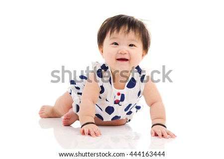 Indoor portrait of a beautiful asian baby