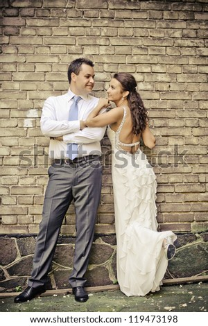 indoor portrait of beautiful couple in love