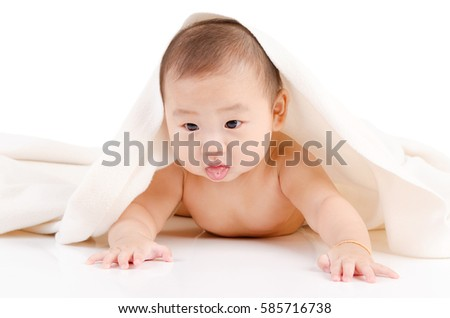 Indoor portrait of lovely asian baby