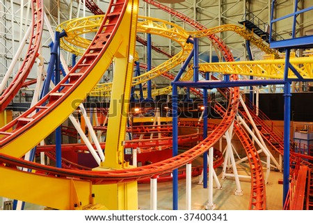 Indoor rollercoaster tracks in the west edmonton mall (the largest indoor shopping mall in north america), edmonton, alberta, canada - stock photo
