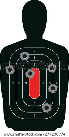 Indoor shooting range silhouette paper target shot full of bullet holes. - stock photo
