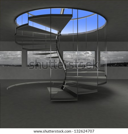 indoor spiral staircase leading to sky illustration