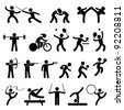 Indoor Sport Game Athletic Set Icon Symbol Sign Pictogram - stock vector