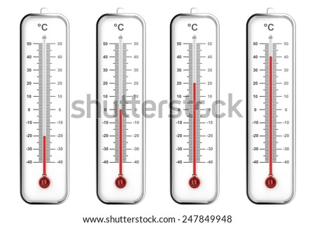 Indoor thermometers with different levels - Celsius scale - stock photo