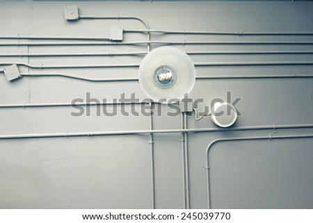 Indoor ventilation system on hight ceiling - stock photo