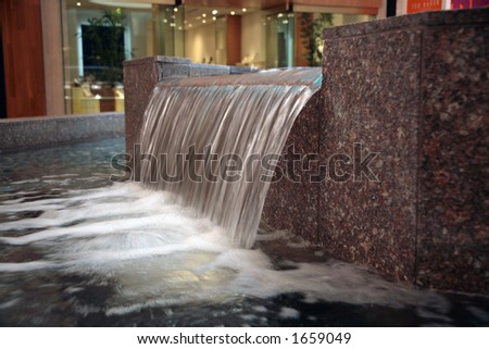 Indoor Water Fountain Waterfall - stock photo