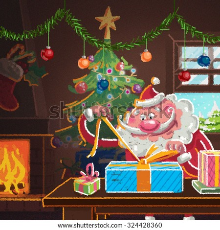 Indoor xmas cozy scene with Santa Claus in front of the fireplace preparing presents for Christmas while is snowing - stock photo