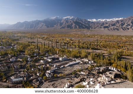 Indus Valley near Tiksey, Ladakh, India - stock photo