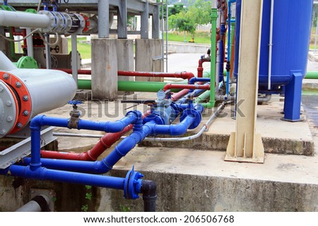 industrial air condition pipes cooler fire  - stock photo