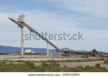 Industrial architecture. Machine used for the extraction of salt