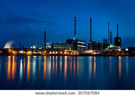 industrial area on the danube at twilight hour