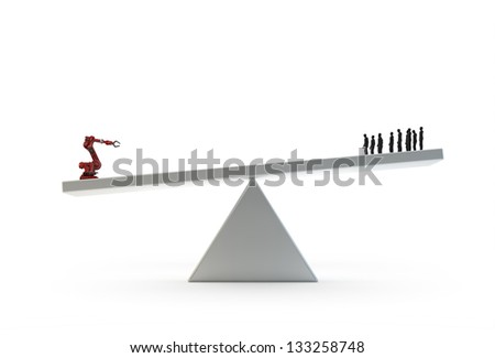 Industrial automation - an industrial robot outweighing a group of humen workers - stock photo